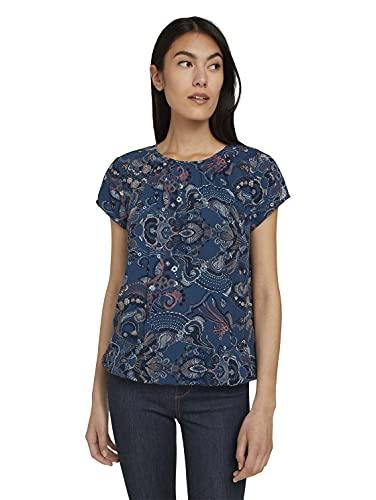 TOM TAILOR Damen Alloverprint Bluse , 27873 - Blue Apricot Paisley Design , 40