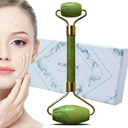 Jade Roller Anti Aging Jade Stone Massager for Face EyeBeauty Jade Facial Skin Roller-Anti Face Eyes Neck Body Winkles -100% Natural Jade Stone Make Your Skin YoungerDark Green