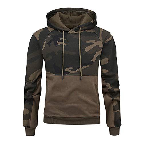 NLZQ Sweat léger pour Homme Style Tendance Haut Motif Camouflage 2021 Automne et Hiver Nouveau Sweatshirt Polaire pour Garder au Chaud Top Mode Casual Sweatshirt,Poche Kangourou Top 2XL