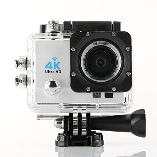 YJXUSHYQ Action Camera 4k HD Anti-Shake Waterproof Camera with Night Vision Q3H Outdoor Sports Camera LED Fill Light Max30 M Diving (Color : White)