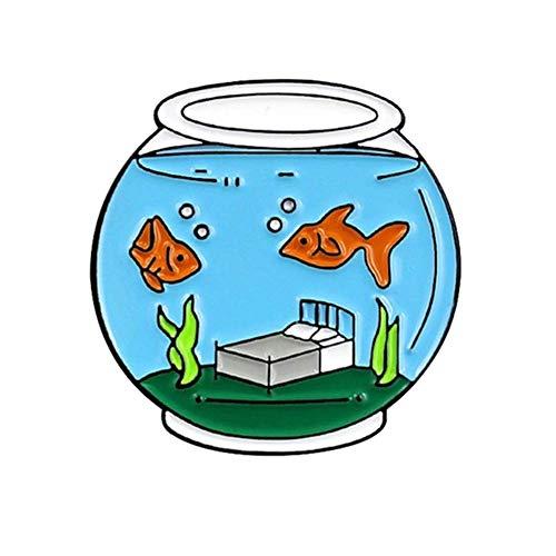 Vektenxi Süße Goldfisch Aquarium Emaille Brosche Revers Denim Jeans Mantel Dekor Abzeichen Schmuck langlebig und nützlich