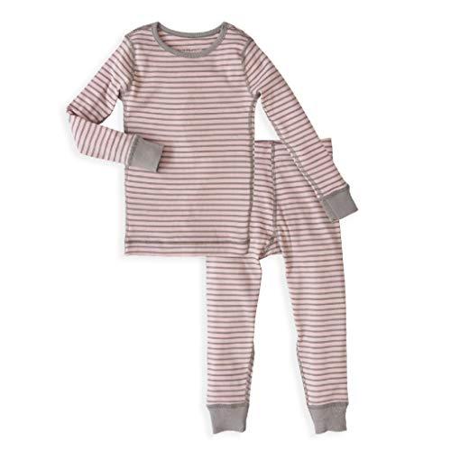 Girl's Kids Long Sleeve Pajama Set - 100% Soft Organic Turkish Cotton- Pink Grey Stripes for Sizes 5