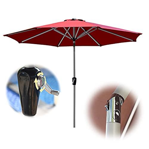 Patio Umbrella, Tiltable Outdoor Parasol Sunbrella, 2.7m/8.85ft Round Market Umbrellas, Used For Beaches, Gardens, Yards, Red, Black, Green, White