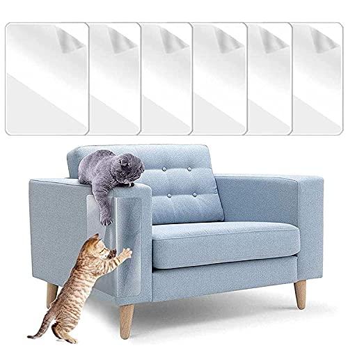 Katze Kratzschutz Sofa, 6 Stück Anti Kratz Möbelschutz, Möbel Protector-Kratz Scratch Couch Schutz mit Selbstklebende Pad, Kratzschutz Protector für Tür Möbel Wand, Transparent Anti Kratz Pad