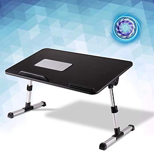 KCO Mesa de bandeja de cama, soporte ajustable para portátil con patas plegables, escritorio portátil de pie, soporte para computadora portátil, ventilador de refrigeración USB para comer, trabajar, escribir, leer (negro)
