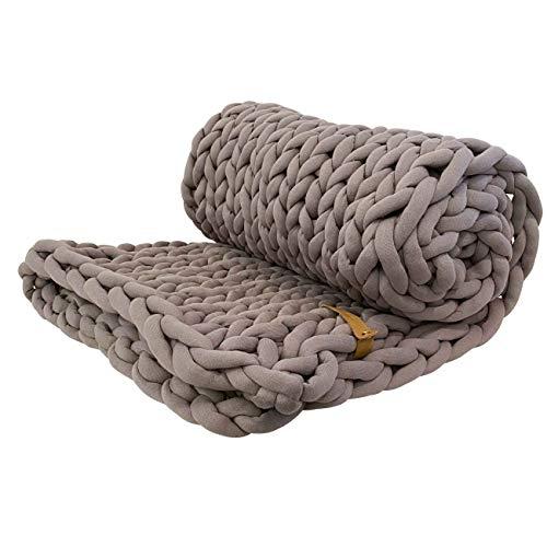 Adorist XXL Grobstrick Decke Cotton Tube, Taupe