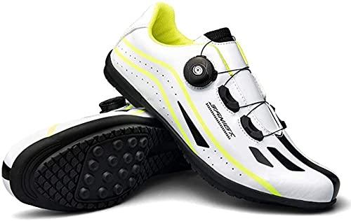 KUXUAN Calzado de Ciclismo para Hombre - Ejercicio de Ciclismo Interior Sin Bloqueo - Transpirable Cómodo,White-42EU=(260mm)