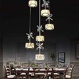 Sebasty Lámparas de Araña LED 39W Lámpara Colgante Rueda K9 Cristal Colgante 9 Bombilla Araña De Acero Inoxidable Personalidad Hermosa Romántica Altura Ajustable Araña Dormitorio 3000K-60