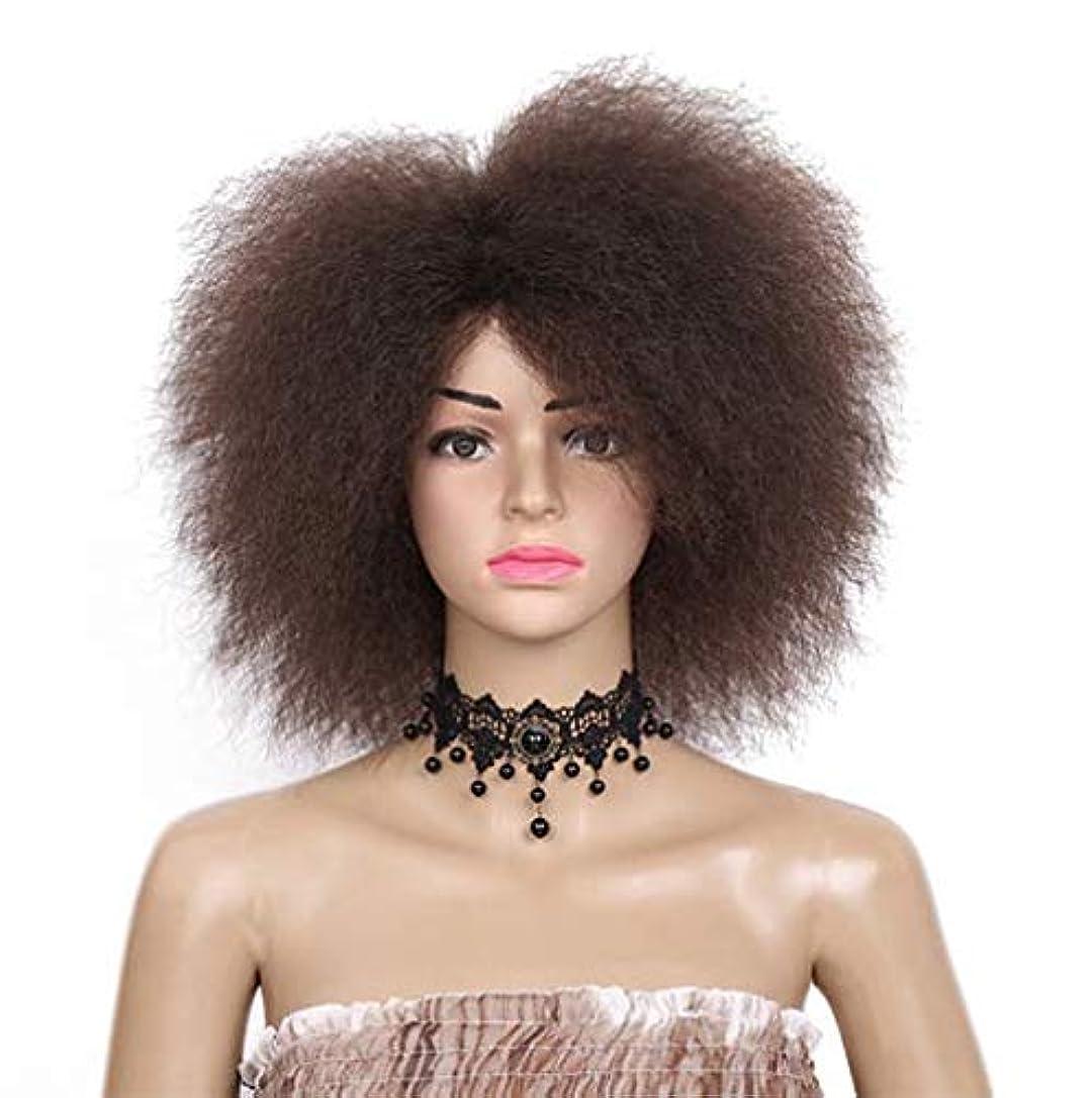 ささやき自分を引き上げる篭ウィッグの女性の短い髪のふわふわの縮緬合成ハロウィーンロールプレイングパーティdayliy中型かつらを使用して