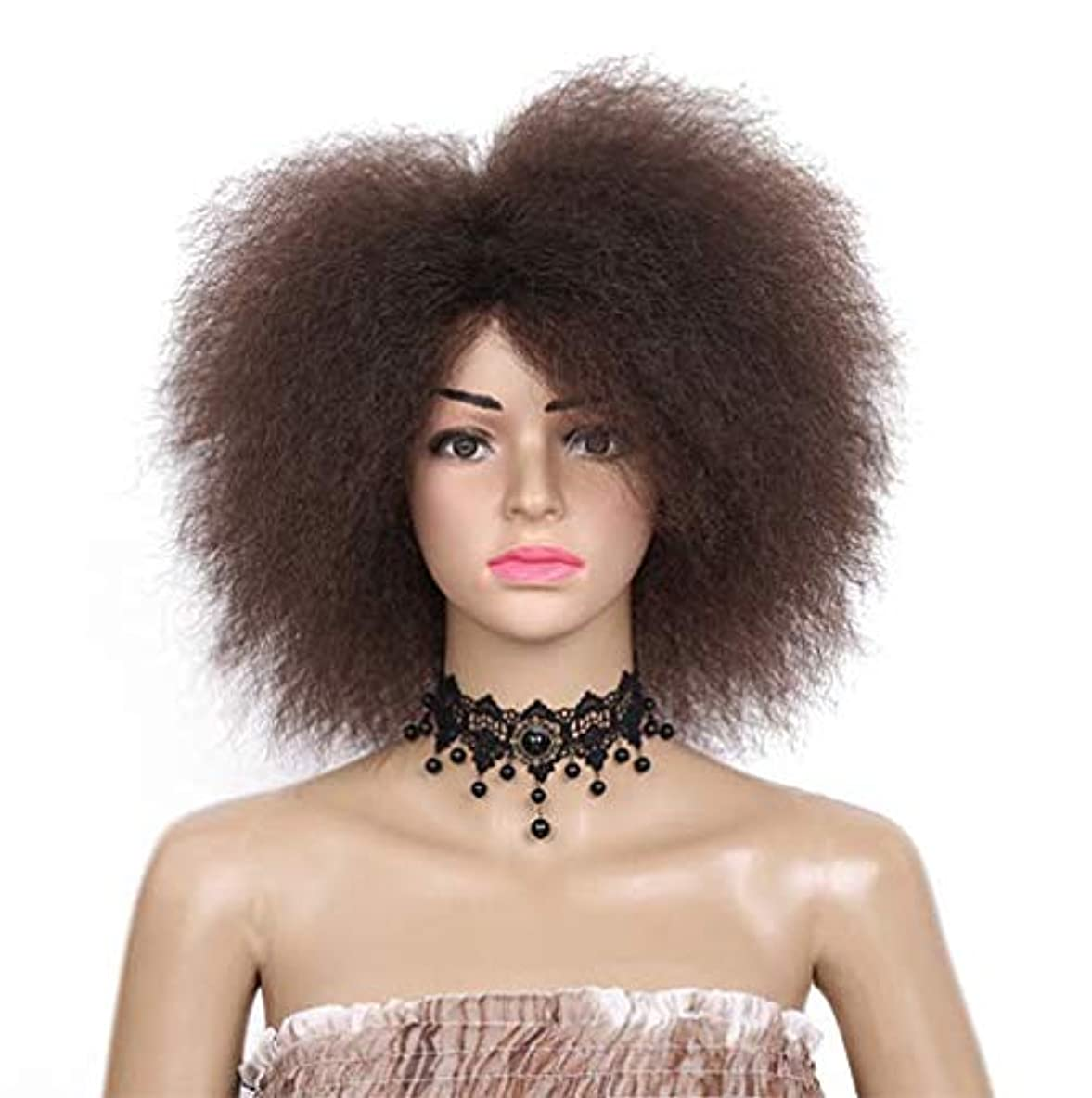 しなやか誰全くウィッグの女性の短い髪のふわふわの縮緬合成ハロウィーンロールプレイングパーティdayliy中型かつらを使用して