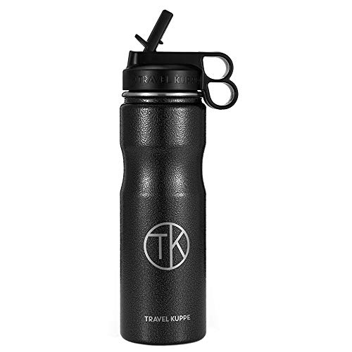 Travel Kuppe Vacuum Insulated Stainless Steel Cycling Sports Water Bottle, Includes Both Straw and Sip Lid