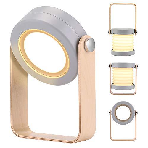 Preisvergleich Produktbild BLOOMWIN Nachttischlampe Dimmbar Nachlicht Touch LED Tischleuchte Tischlampe 3 Helligkeitsstufen klappbare Leseleuchte Nachtischlampe Kinder Grau