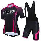 Jerseys de ciclismo de mujer de verano set Mountian Bike Ropa Ropa de bicicleta de carreras (Color : E1, Size : XX-Large)