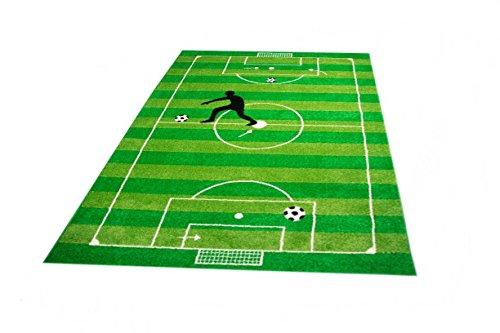 CARPETIA Kinderteppich Spielteppich Jungen Kinderzimmer Teppich Fußball grün Größe 80x150 cm
