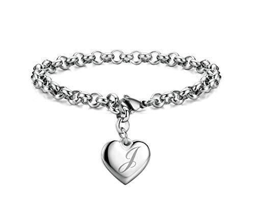 Initial Charm Bracelets Stainless Steel Heart Letters J Alphabet Bracelet for Women