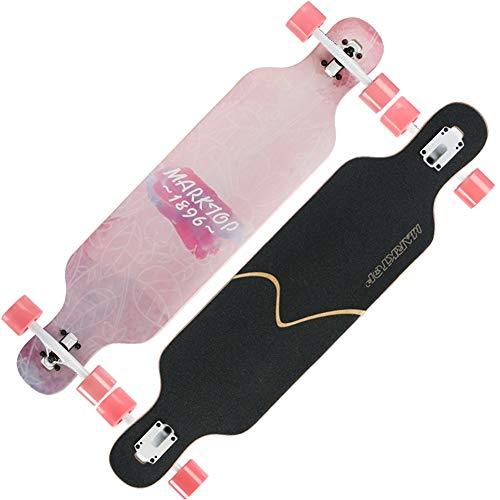 NENGGE Ahornholz Longboards, Profi Konkave Deckform mit Doppel-Kick Skateboard für Jugendliche Erwachsene Anfänger Mädchen Jungen Kinder,Rosa