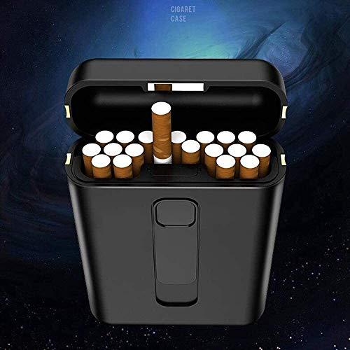AMDHZ ZIGARETTENETUI, 2 in 1 Zigarettenschachtel mit leichten USB magnetischer Abdeckung 20 aufnehmen kann Lade Zigarettenschachtel für Herre