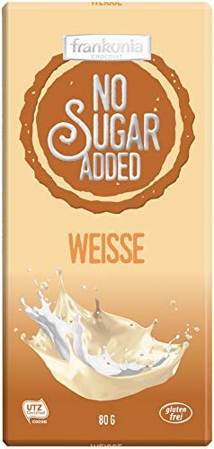 frankonia CHOCOLAT NO SUGAR ADDED Added Weisse Schokolade glutenfrei, 80 g, 24034