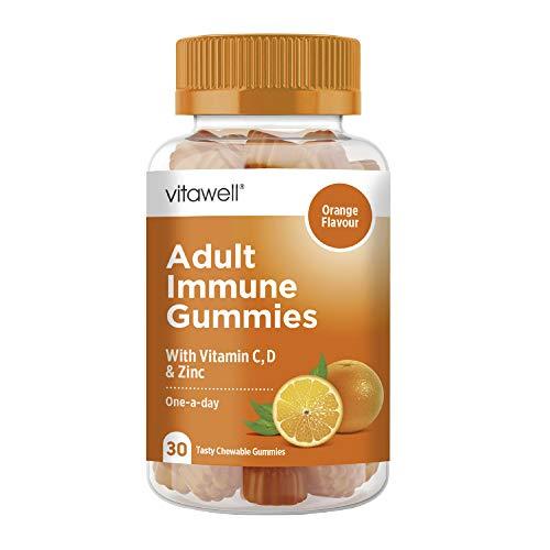 VITAWELL Adult Immune Gummies | 30 Tasty Chewable Orange Flavour Gummies | Contain Vitamin C, Vitamin D, B6, B12, Zinc & Minerals
