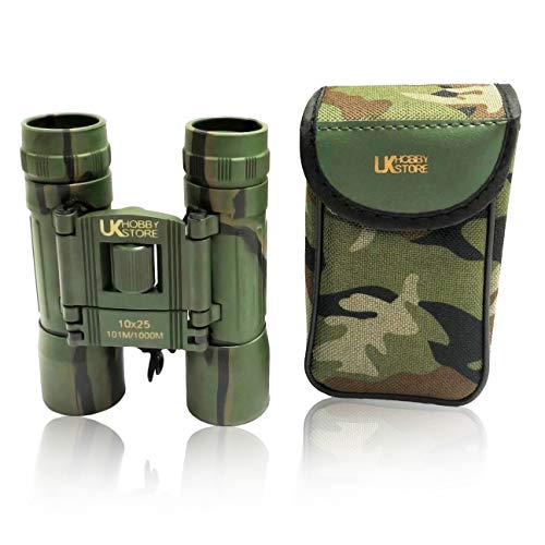 UKHobbyStore - Prismáticos (10 x 25, con lentes con recubrimiento de rubí), estampado de camuflaje