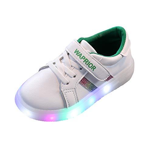 Diadia_Home Unisex Baby Kinder LED Leuchtschuhe Weiß Turnschuhe Striped Sneaker Mädchen Jungen Mode Sneaker,LED Schuhe Low-Top Light Up Schuhe (Grün, 30)