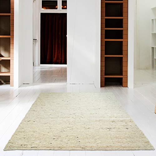 Hand-Web-Teppich | Reine Schur-Wolle im Skandinavischen Design | Wohnzimmer Esszimmer Schlafzimmer Flur Läufer | Grau Beige (Sand - 70 x 130 cm)