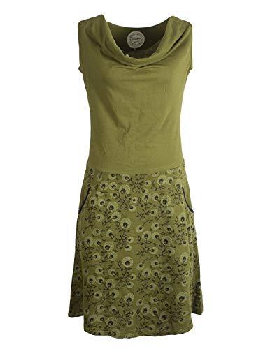 Vishes - Alternative Bekleidung - Damen Baumwoll-Kleid, Blumen-Muster, Wasserfall-Kragen und Taschen Olive 36
