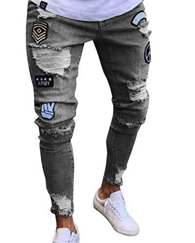 Adelina Herren Jeans Skinny Stretch Mit Löcher Chern Jungen Stretch Jeanshosen Slim Fit Destroyed Denim Hosen Freizeithose (Color : Grau, Size : M)
