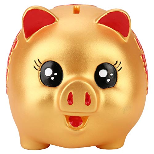 VIFERR Banco de Cerdo, Juguete de Cerdo de Oro Lindo Plástico Alcancía para Moneda Dinero Caja Cobrable Ahorro Caja Regalo para Niños