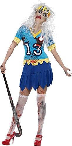 Smiffys, Damen Zombie-Hockey Spieler Kostüm, Oberteil, Rock und Haarband, Größe: L, 24367