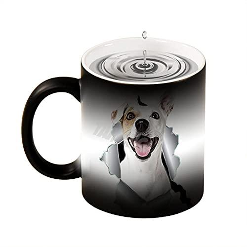 Taza de café con diseño de Jack Russell Terrier de cerámica termosensible para calentar el agua de 11 onzas, taza de té de 11 onzas, regalo para niños para niñas fabricado en los Estados Unidos.