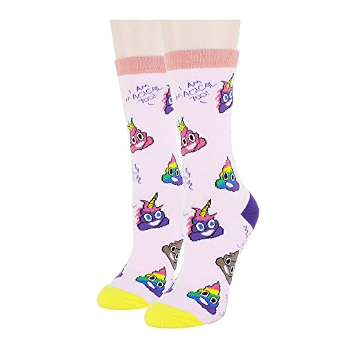 HAPPYPOP Poop Emoji Socks Women Girls, Novelty Crazy Funny Unicorn Poop Themed Gifts