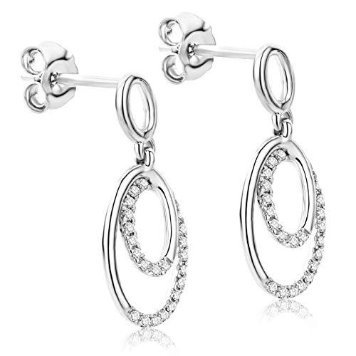 Orovi - Orecchini pendenti in oro bianco 9 kt con diamanti da 0,14 kt