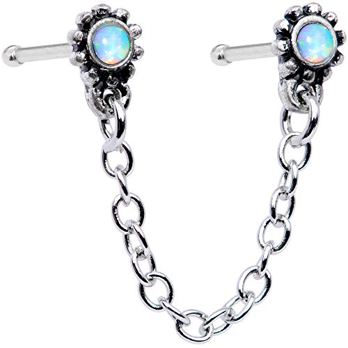 Body Candy 20G Steel Nose Ring White Synthetic Opal Chain Dangle Double Nose Bone Nose Stud Body Jewelry 6mm