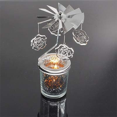 Rotary Spinning Tealight Candle Metal Tea Light Holder Carousel Home Decoration - Rose