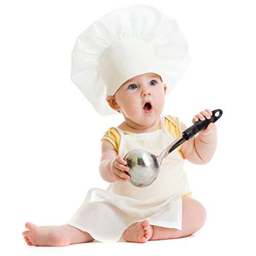 Yuehuam Conjunto de disfraz de cocinero blanco con gorra, para bebs y nias (nias)