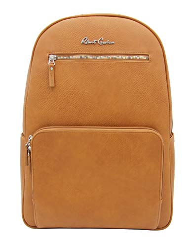"""Robert Graham Lauda Pebbled Faux Leather Travel Backpack - Classic, Cognac Brown Vegan Leather Laptop Backpack for Men & Women - Unisex Backpack, Printed Floral Interior (12.5"""" W x 17.25"""" H x 4.75"""" D)"""