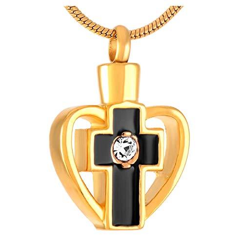 Wxcvz Colgante para Conmemorar Collar De Cenizas De Oro Personalizado Collar De Urna De Joyería De Cremación De Corazón con Patrón De Flores Vintage De Acero Inoxidable