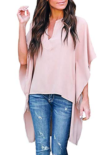 ZKESS Women Stylish V Neck Chiffon Tops Casual Bell Short Sleeve Solid Blouse Loose High Low Shirts Pink Large