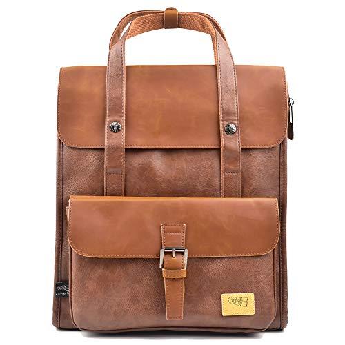 DokinReich Retro PU-Leder Vintage Rucksack Wanderrucksack Backpack Damen Herren Schultertasche für 13 Zoll Laptop Braun
