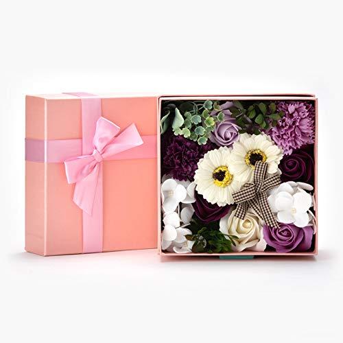 九州フラワーサービス 花のカタチの入浴剤 ソープフラワー ボックスアレンジ フローラルソープの香り ピンク/パープル