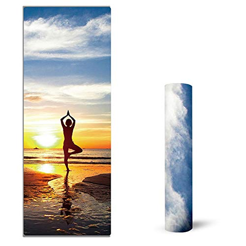 XKMY Esterilla de yoga Pro 183 cm x 68 cm x 1,5 mm de ante TPE para yoga, esterilla de entrenamiento, respetuosa con el medio ambiente, antideslizante, para yoga, pilates y fitness (color: 4)