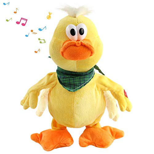 Houwsbaby Quacking Duck Musical Duckling Stuffed Animal with a bib Walking Singing Waving Ducky Electronic Interactive Animate Barn Plush Toy Gifts for Kids Boys Girls Birthday Holiday 12   (Yellow)