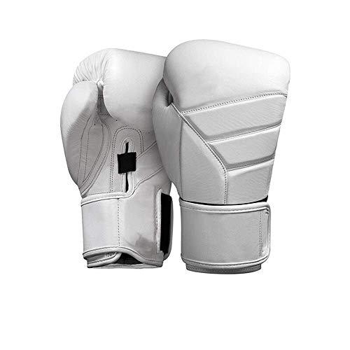 Gants de Boxe Lutte Gants for Hommes et Femmes Gants de Boxe Sanda Gants de Combat Muay Thai Gants en Cuir Artificiel for Les athlètes (Color : White, Size : 14oz)
