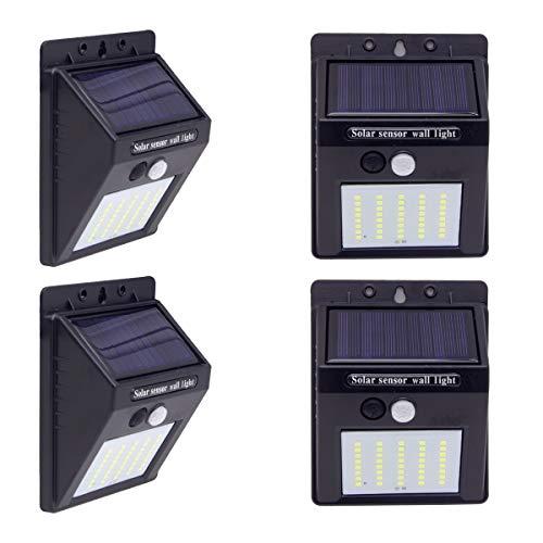 LAVAED 4 Packs 40 LEDs Solar Wall Lights Outdoor,Solar PIR Motion Sensor Security Light for Garden Fence Patio Garage Backyard