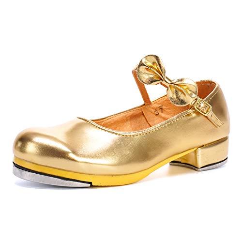 VCIXXVCE Scarpe da Tip Tap Bambina&dDonna con Fiocchi Mary Jane Tip Tap Scarpe,TT208-Oro,EU 33