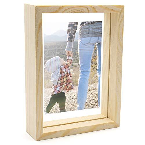 Thetford Design - Marco de fotos de madera flotante de doble cara, madera, 13.7cm x 18.8cm
