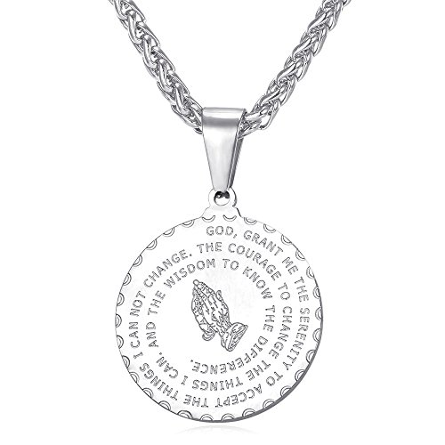 U7 Men Women Bible Verse Prayer Necklace with Chain Christian Jewelry 18K Gold Coin/Heart/Vintage Charm Praying Hands Coin Medal Pendant, Length 20-26