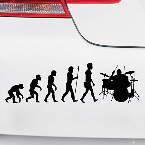 Motoking Autoaufkleber - Lustige Sprüche & Motive für Ihr Auto - Evolution Schlagzeug - 25 x 7,4 cm - Schwarz Seidenmatt