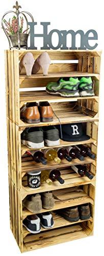 3 x Schuhschrank Schuhregal aus Holzkisten Schuhablage für 18 Paar Schuhe als Schuhständer Schuhaufbewahrung aus Holz stabiles Regal in Obstkisten Optik (3er set doppelt längs flam)